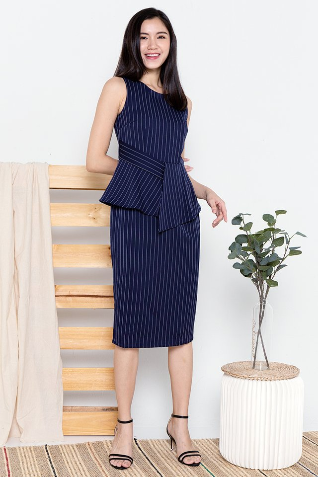 Maxine Peplum Work Dress (Navy)