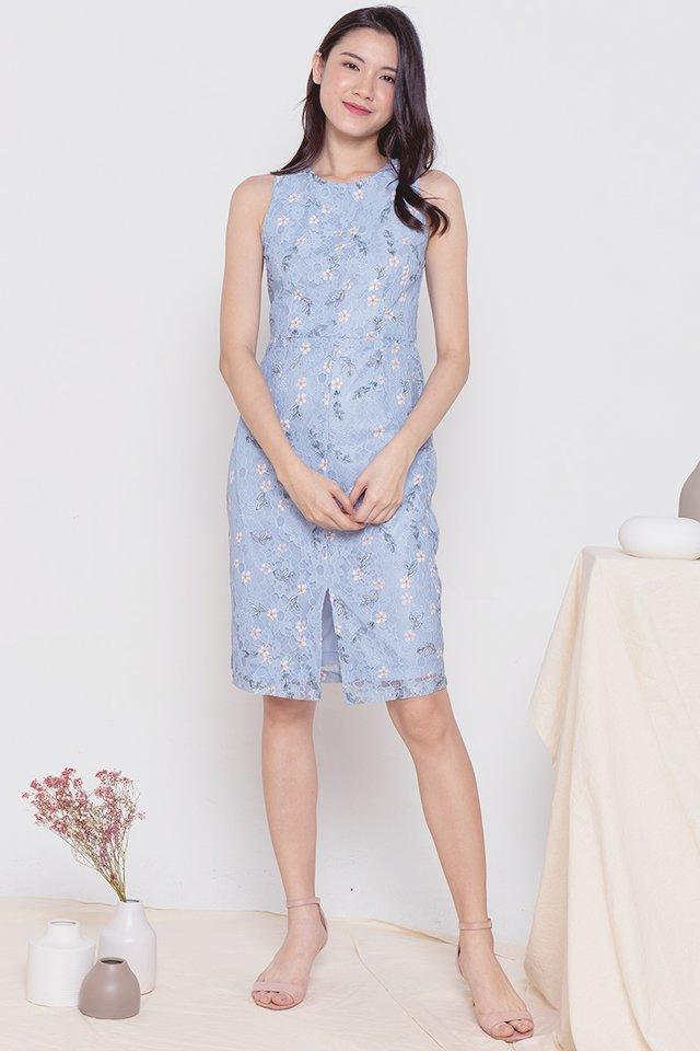 Liana Detachable Collar Lace Dress (Blue)