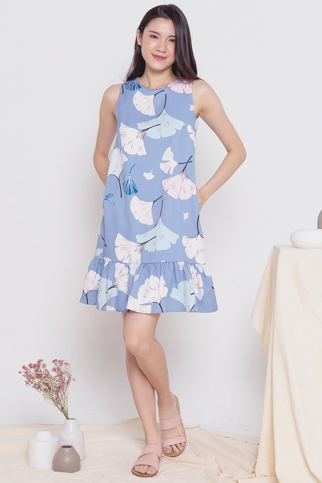 Ginko Leaves Printed Dress (Blue)