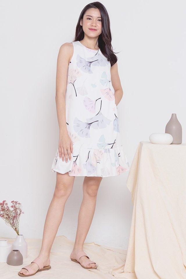 Ginko Leaves Printed Dress (White)
