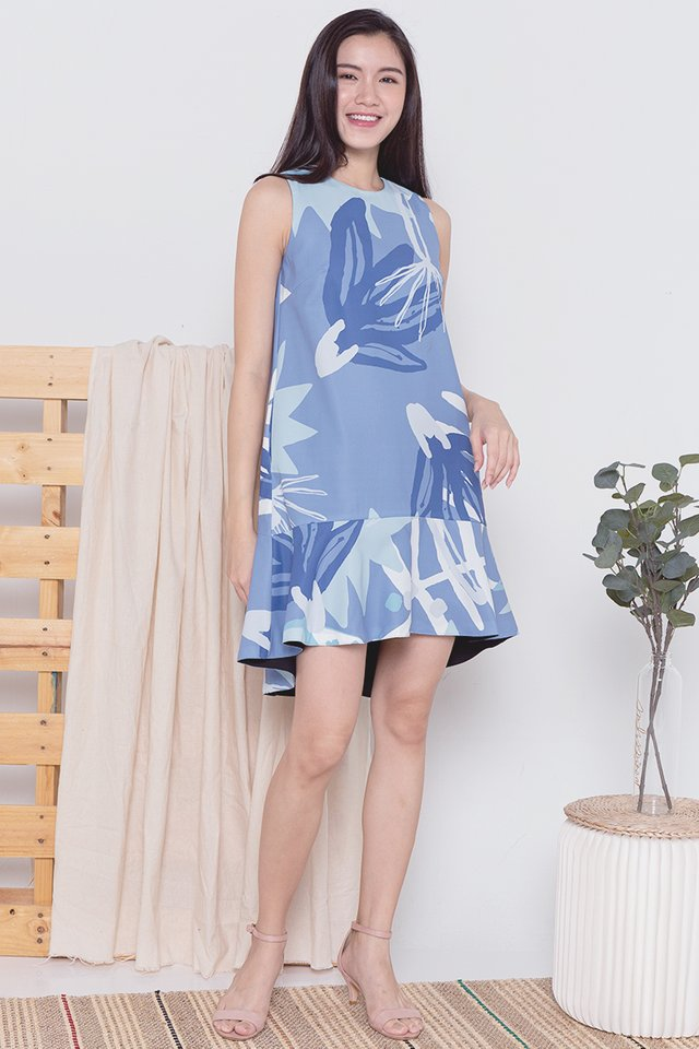 Riddle Reversible Abstract Mermaid Dress (Blue)