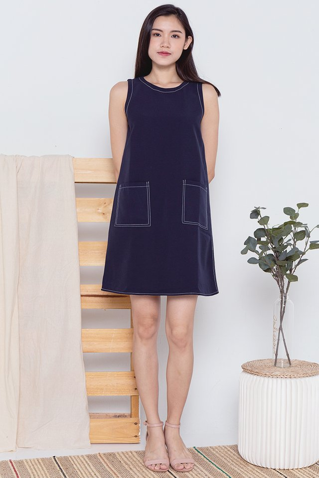 Sandra Stitch Sheath Dress (Navy Blue)