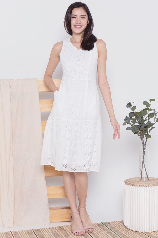 Bailey Placement Eyelet Midi Dress (White)