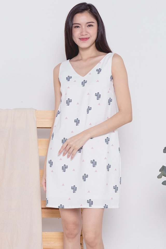 Cactus V Neck Tank Dress (White)