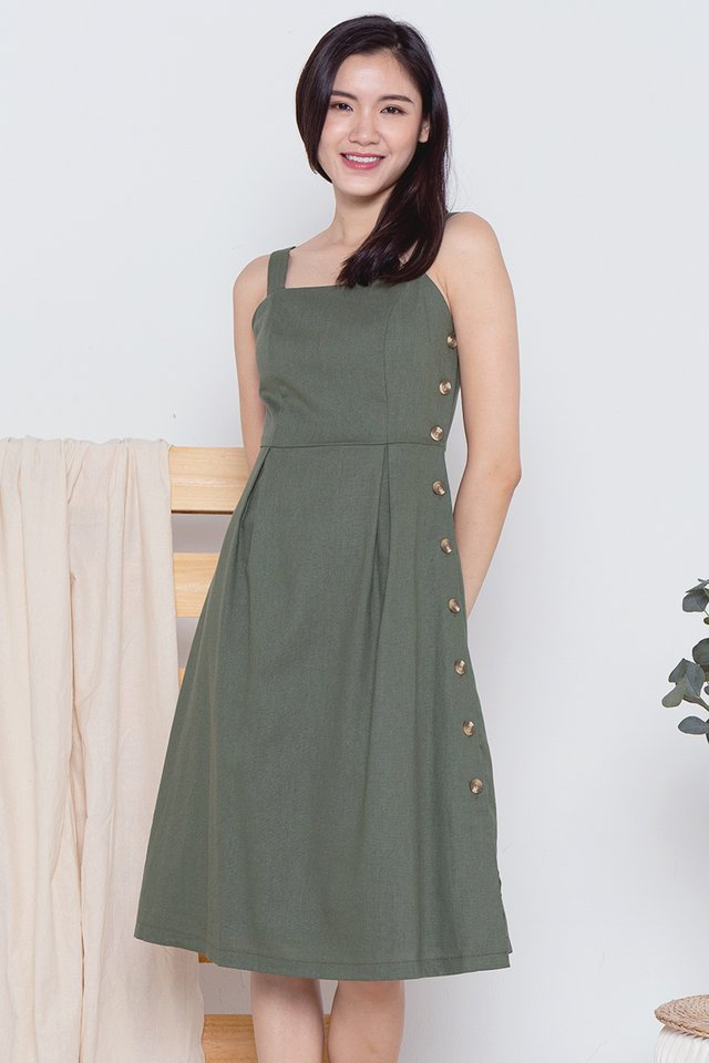 Hannah Button Side Linen Dress (Olive)