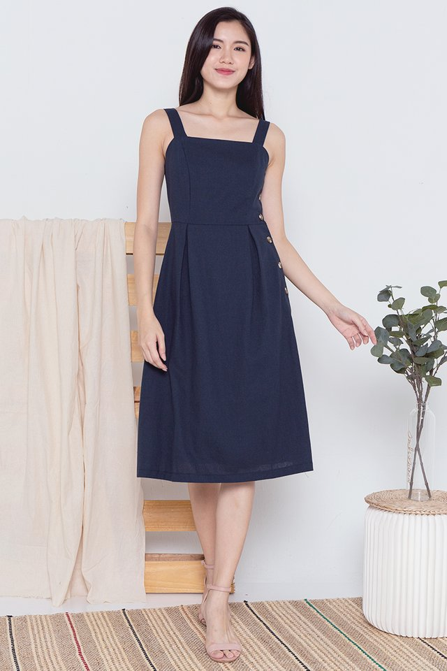 Hannah Button Side Linen Dress (Navy Blue)