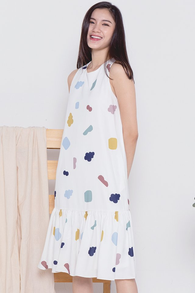 Cloud Mermaid Midi Dress (White)