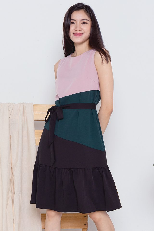 Sidney Tri-Colour Mermaid Dress (Pink Top)