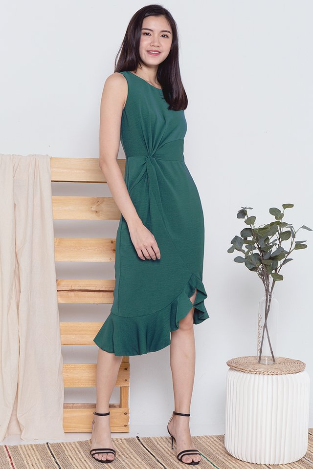 Erin Waist Knot Midi Dress (Forest Green)