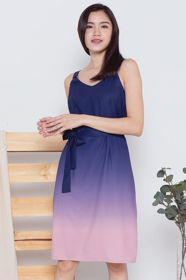 Cally Ring Ombre Dress (Navy-Pink)