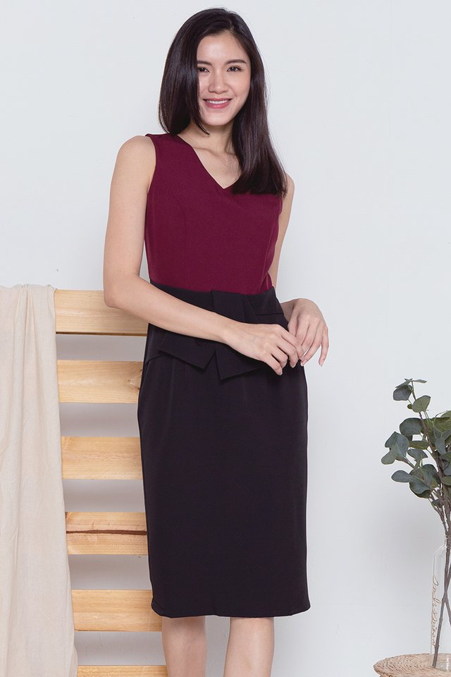 Maddison Waist Flap Work Dress (Wine)