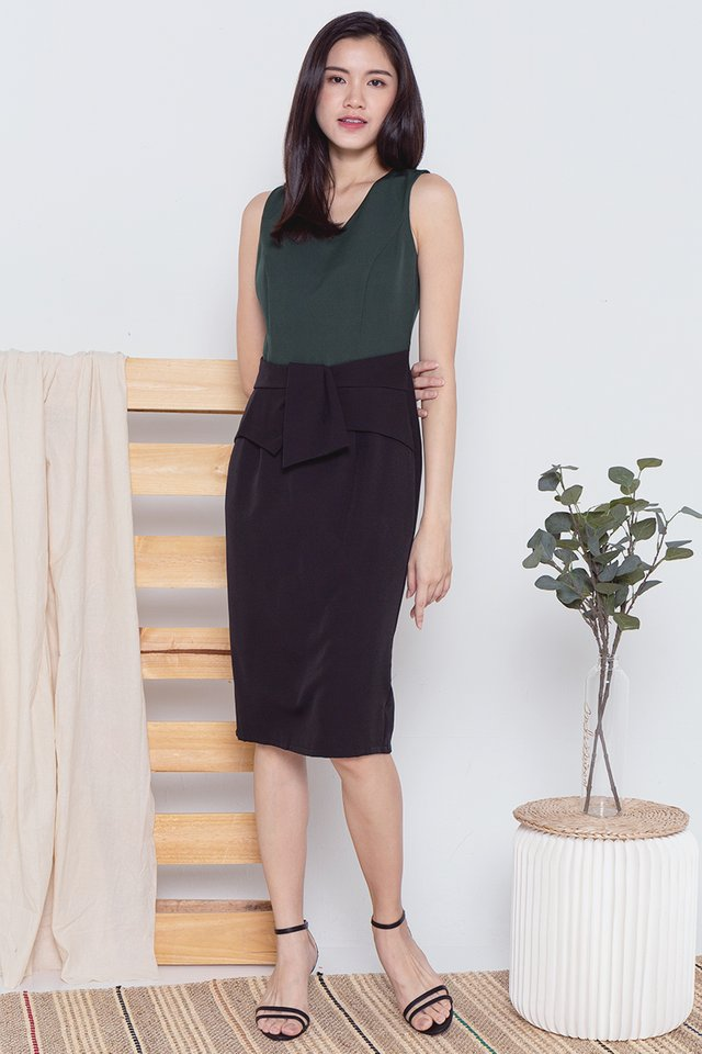 Maddison Waist Flap Work Dress (Forest Green)