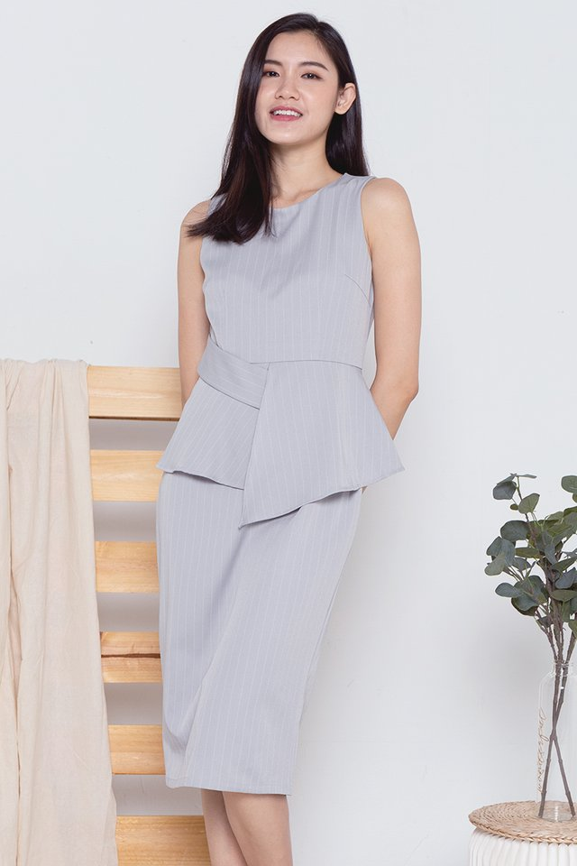 Maxine Peplum Work Dress (Grey)