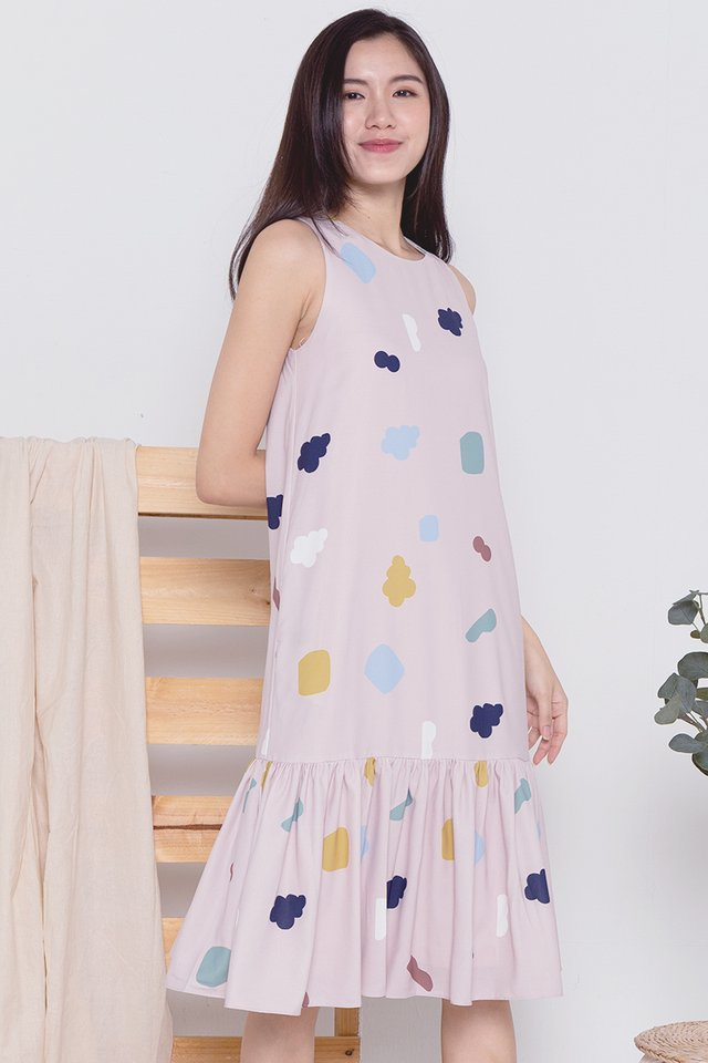 Cloud Mermaid Midi Dress (Pink)