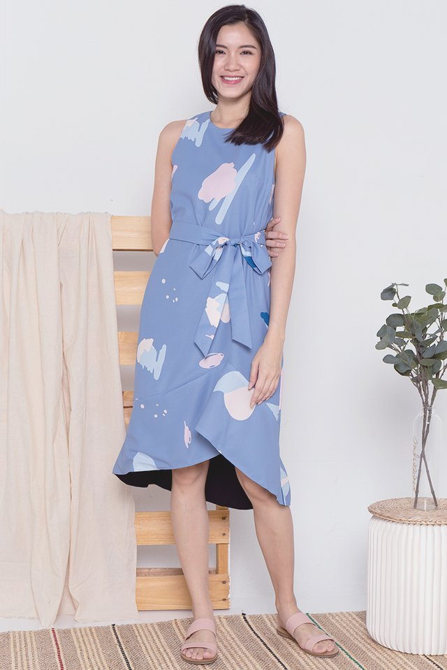 Pauline Abstract Mermaid Dress (Blue)