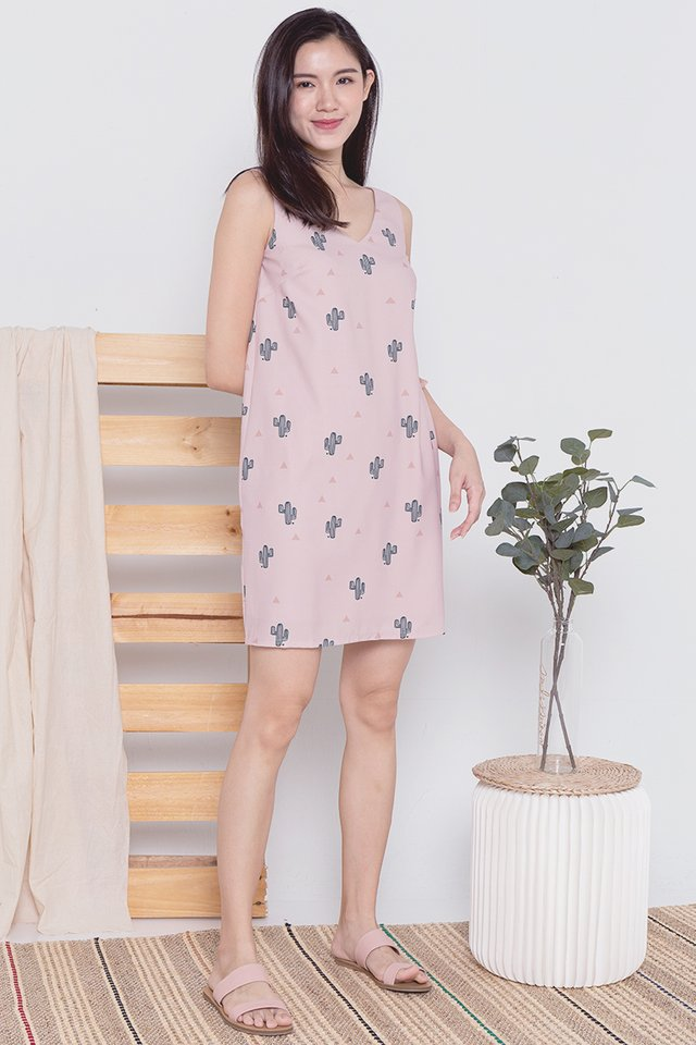 Cactus V Neck Tank Dress (Pink)