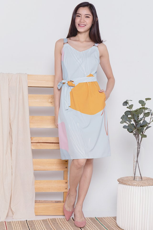 Keller Ring Abstract Dress (Mint/Mustard)