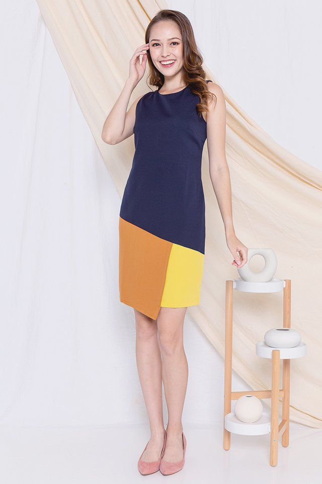 Tristan Colourblock Work Dress (Mustard)