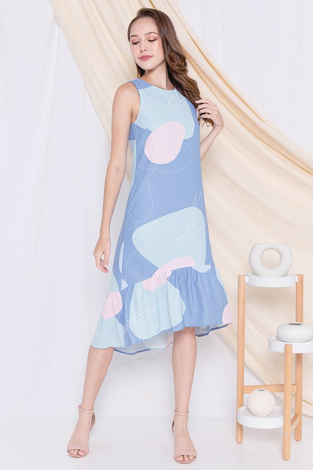 Sadie Abstract Fishtail Dress (Blue)