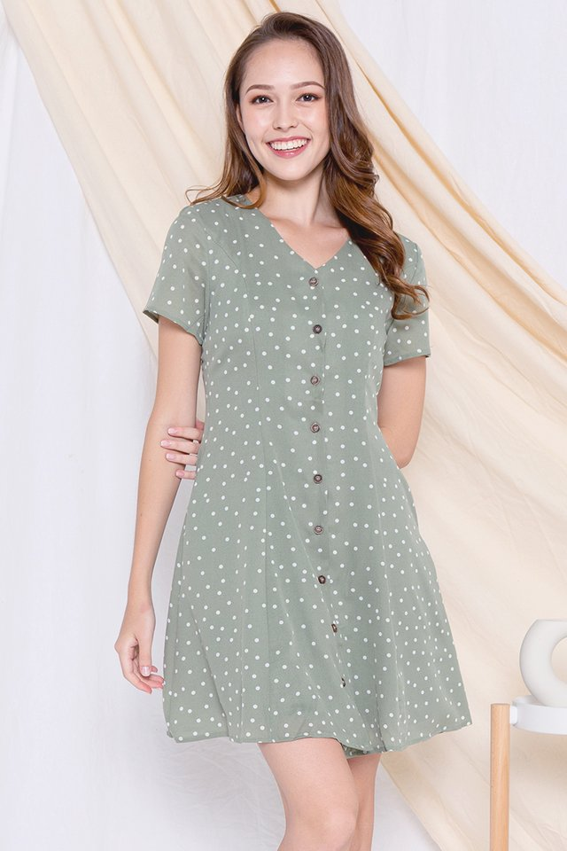 *Restocked* Elle Polka Dot A-line Dress (Green)