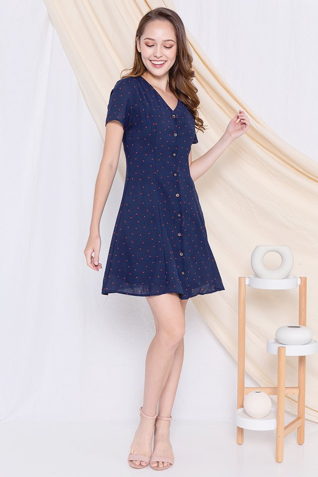 *Restocked* Elle Polka Dot A-line Dress (Navy Blue)