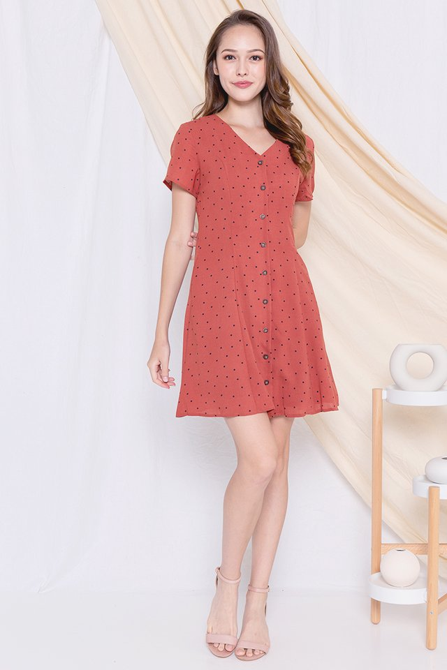 Elle Polka Dot A-line Dress (Terracota)