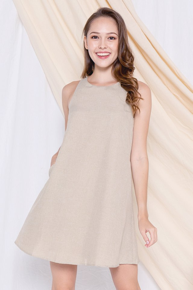 Darcie Pocket Trapeze Dress (Sand)