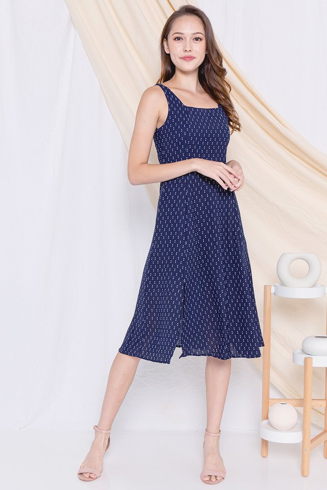 Rakel Square Neck Slit Dress (Navy)