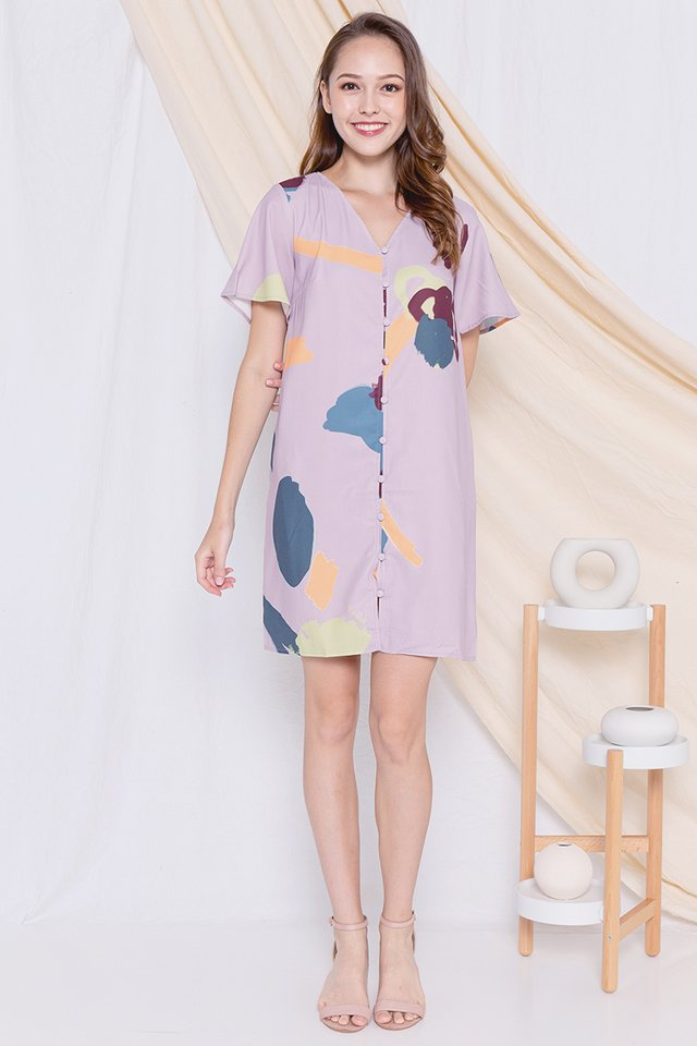 Abigail Flutter Sleeve Dress (Abstract Pink)