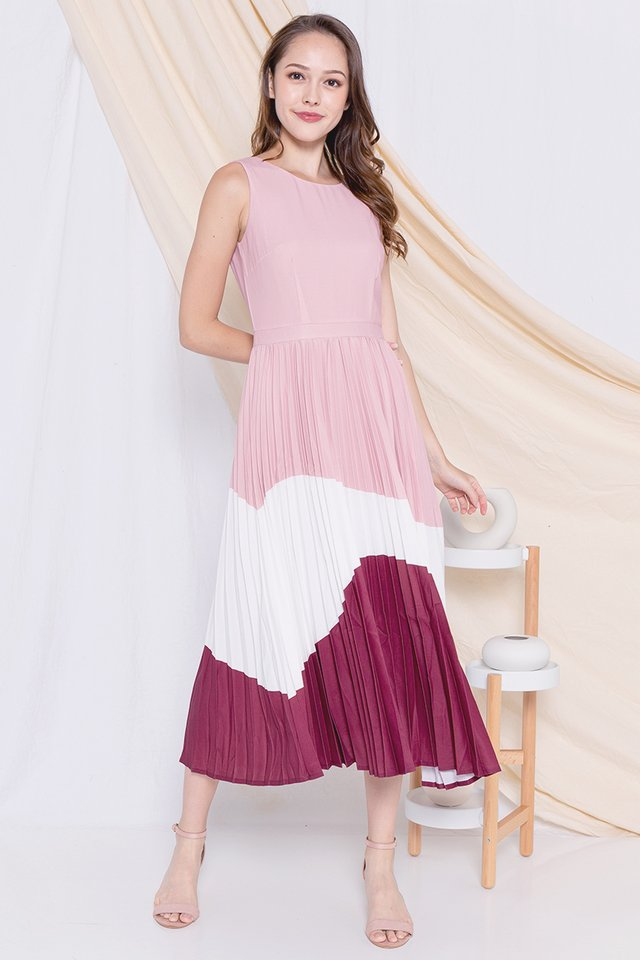 Germaine Pleated Maxi Dress (Pink/White)