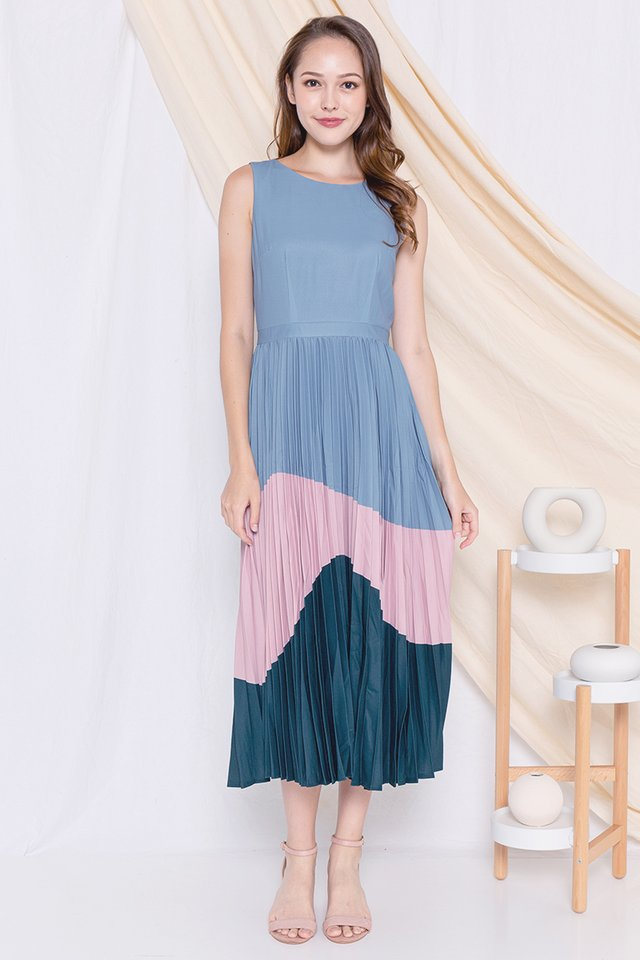 Germaine Pleated Maxi Dress (Blue/Pink)