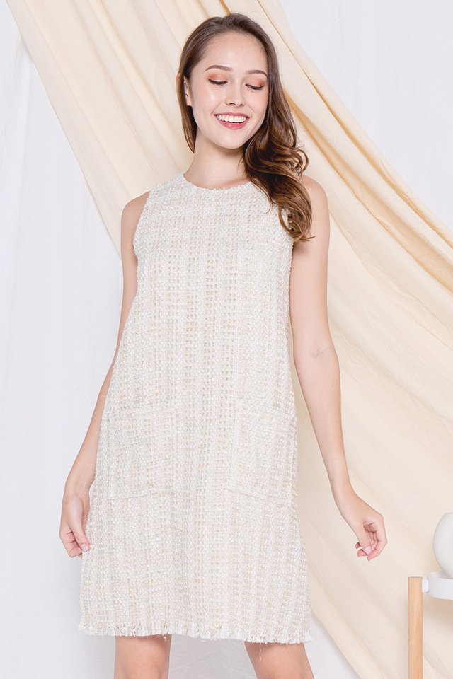 Ally Front Pocket Tweed Dress (Cream)