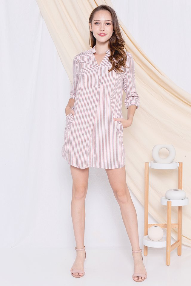 Lowe Shirt Dress (Red Stripes)