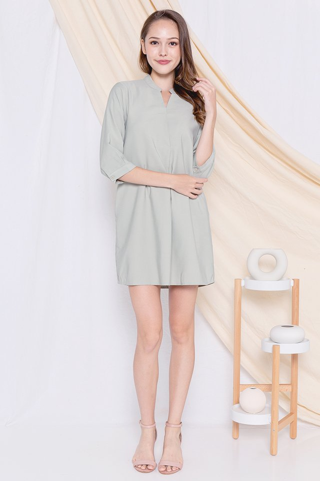 Lowe Shirt Dress (Sage Green)