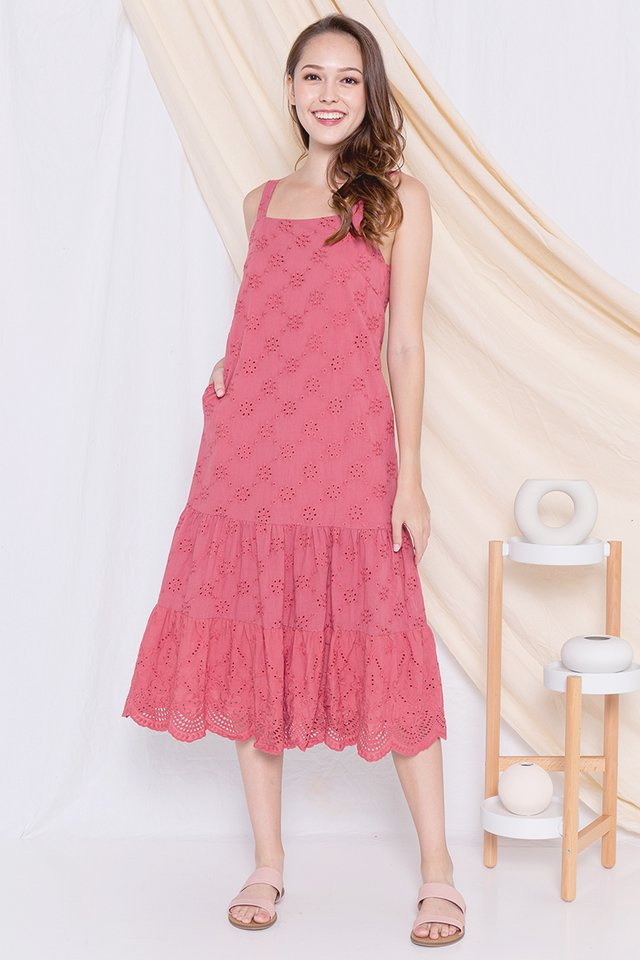Eleanor Eyelet Midi Dress (Rose)