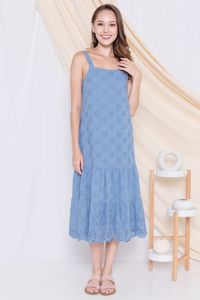 Eleanor Eyelet Midi Dress (Blue)