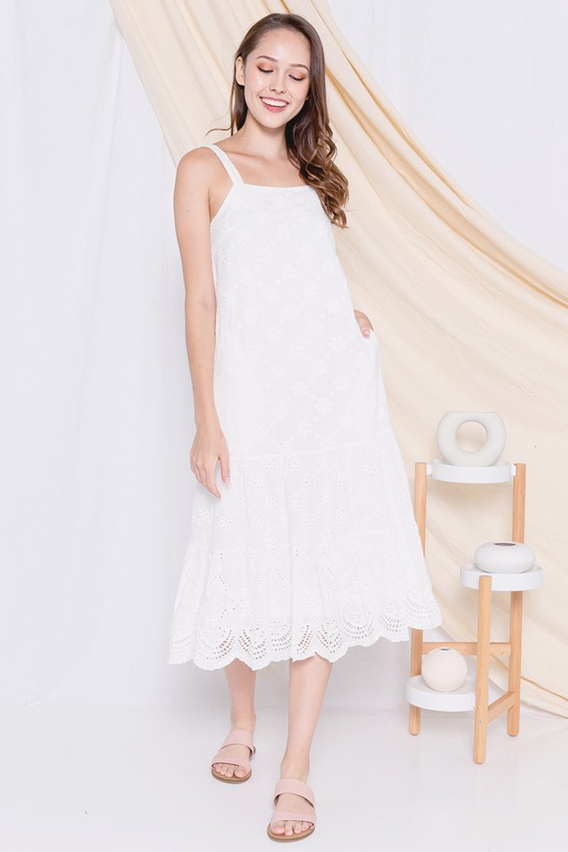 Eleanor Eyelet Midi Dress (White)