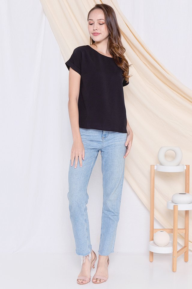 Lisbon Cuffed Sleeve Top (Black)