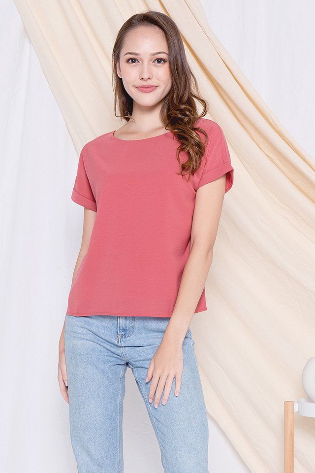 Lisbon Cuffed Sleeve Top (Pink)