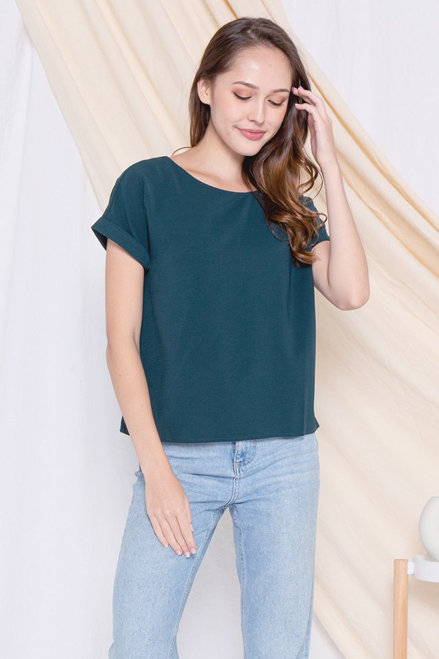 Lisbon Cuffed Sleeve Top (Forest Green)