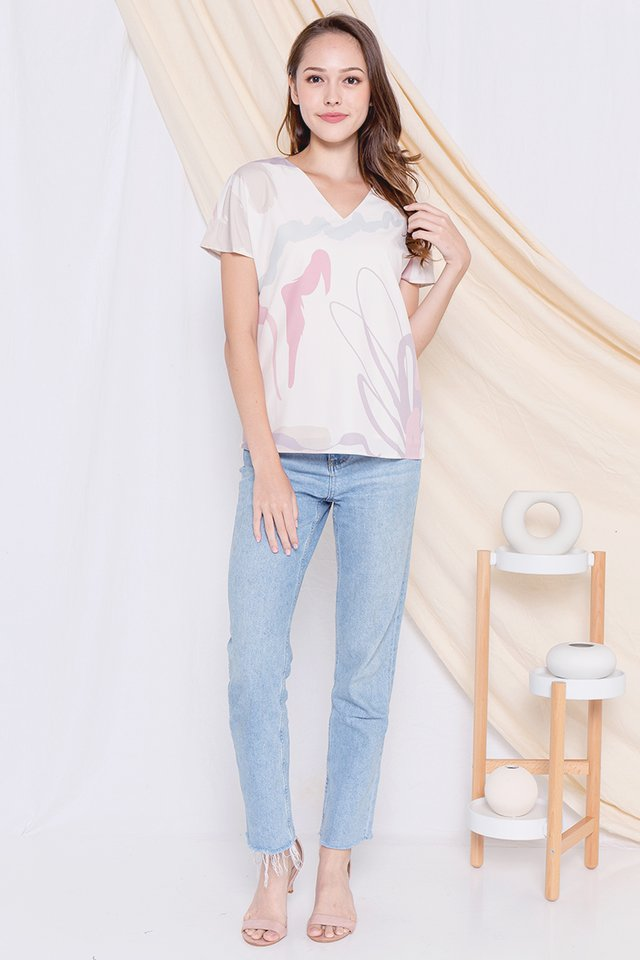 Mindy V Neck Abstract Box Top (Paddlepop)