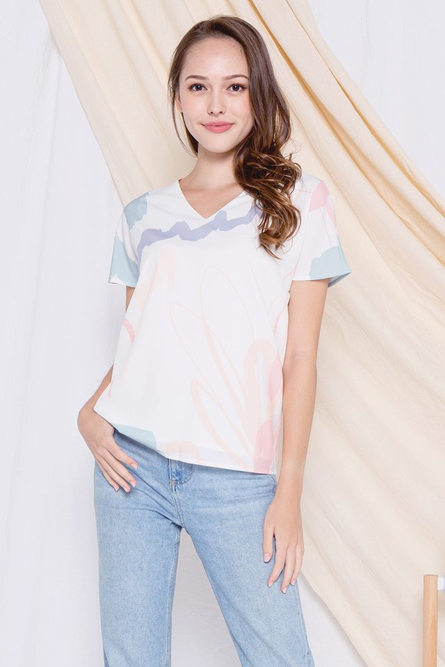 Mindy V Neck Abstract Box Top (Pink)