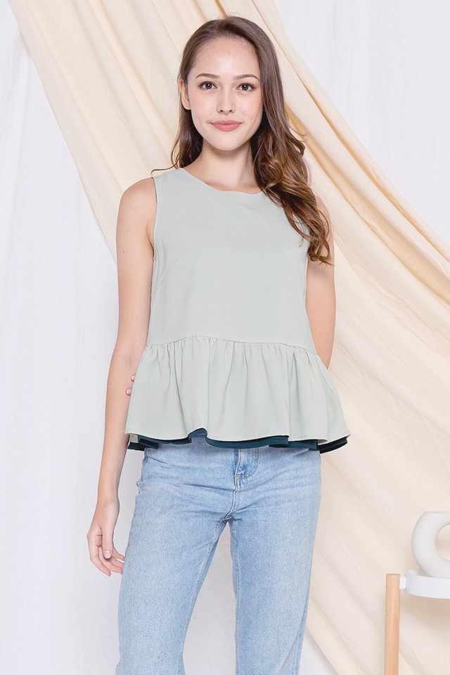 Ray Reversible Babydoll Top (Forest/Green)