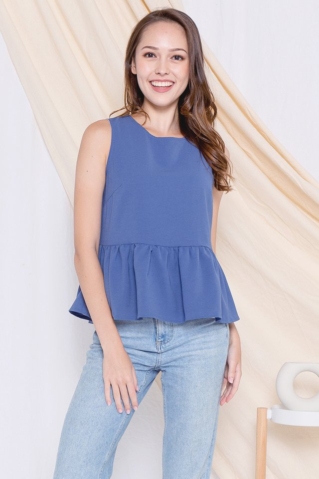 Ray Reversible Babydoll Top (Blue/Pink)