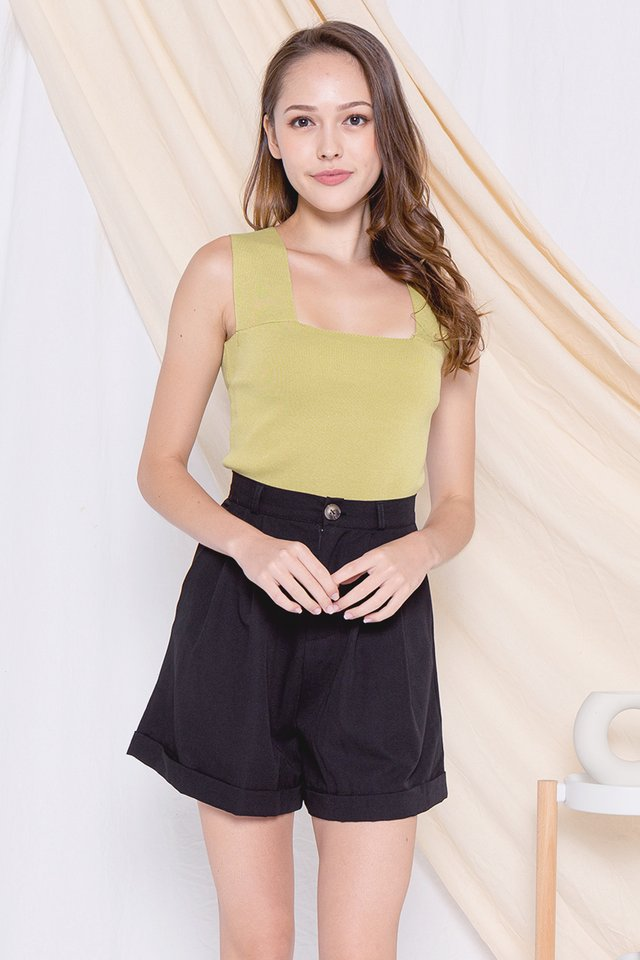 Debra Thick Straps Square Neck Top (Green)