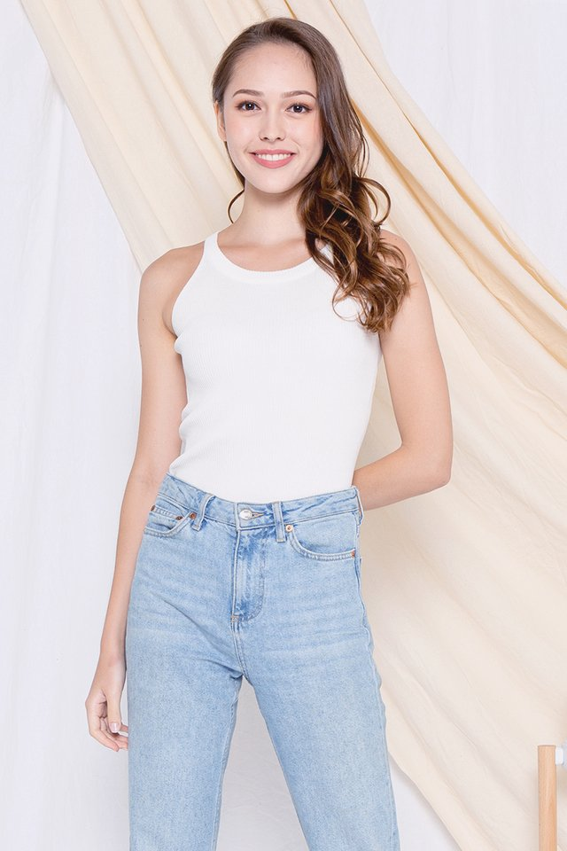 Lorraine Cut-in Ribbed Top (White)