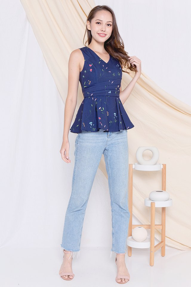 Fion Floral V Neck Peplum Top (Navy Blue)