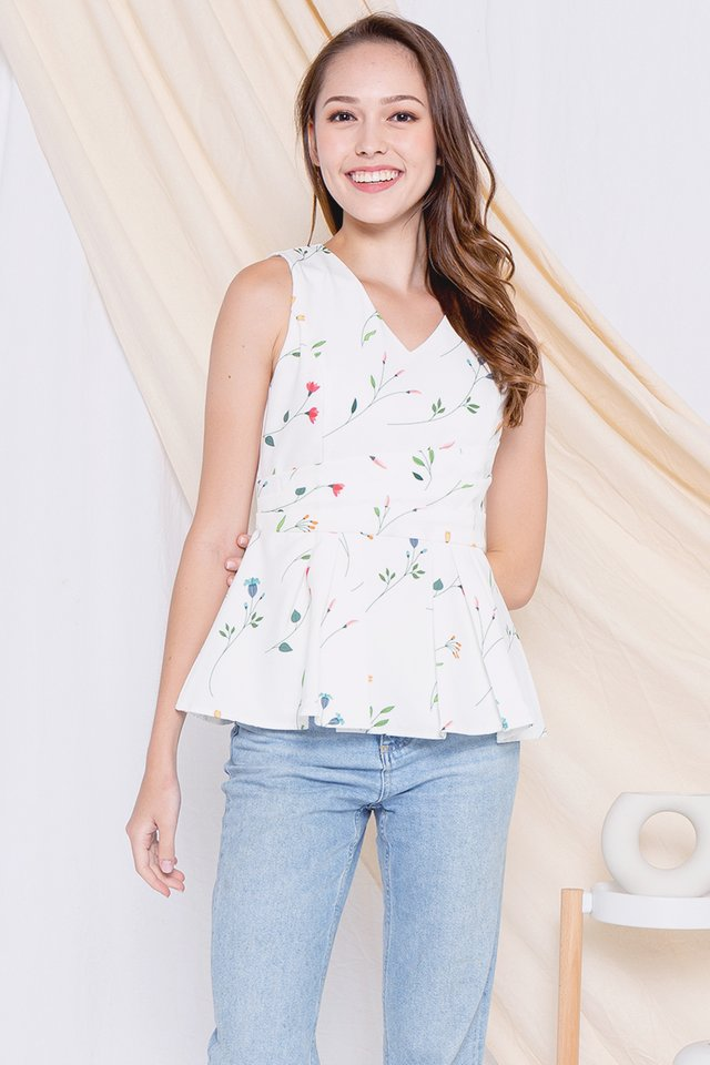 *Restocked* Fion Floral V Neck Peplum Top (White)