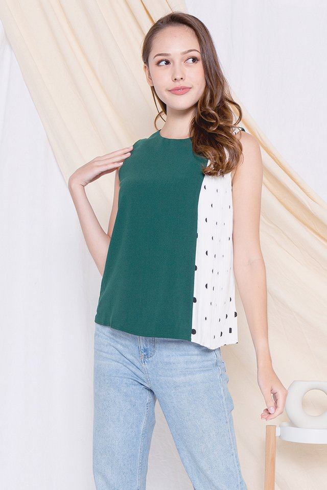 Gladis Polka Dot Side Pleats Top (Forest Green)
