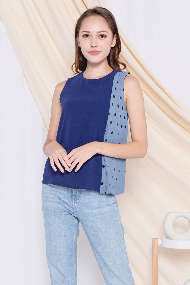 Gladis Polka Dot Side Pleats Top (Navy Blue)